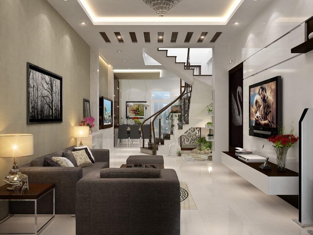 Phòng khách nhỏ có cầu thang vẫn thoải mái cho gia đình sinh hoạt