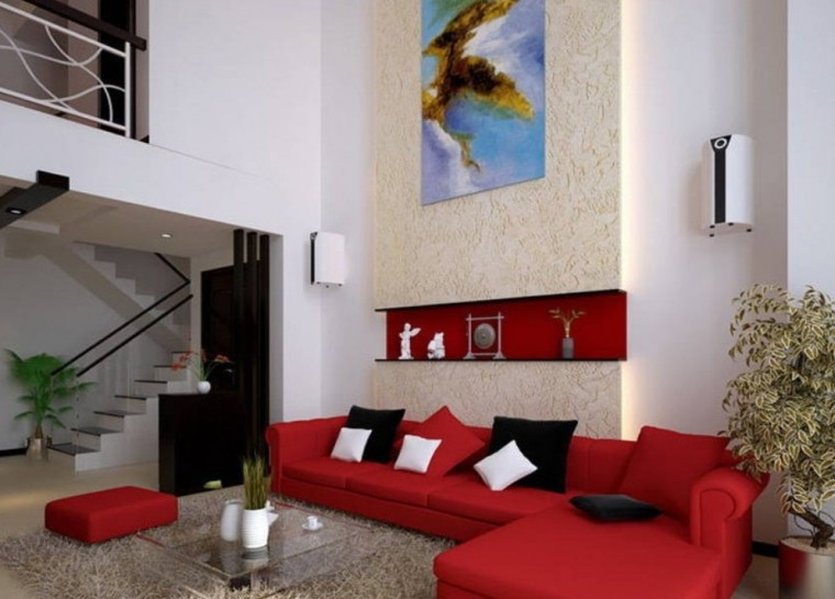 Phòng khách nổi bật với bộ sofa màu đỏ