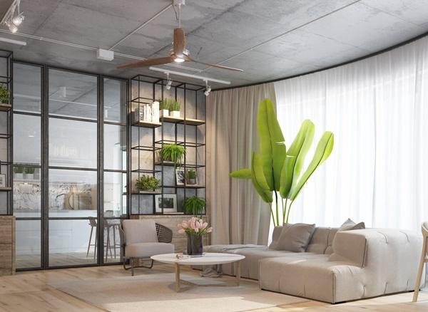 Phòng khách nhỏ nhưng có thiết kế mở nên rất thoải mái